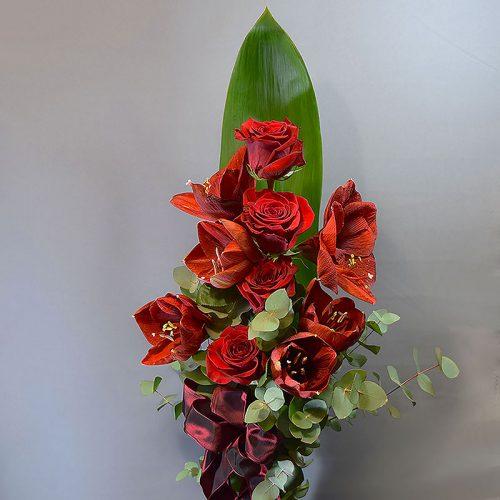 Cvjećarnica Fani_Buketi_Buket ruže i amarilisi srednji