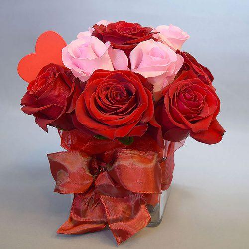 Cvjećarnica Fani_Ljubav_Aranžman crveno i ružičasto mali
