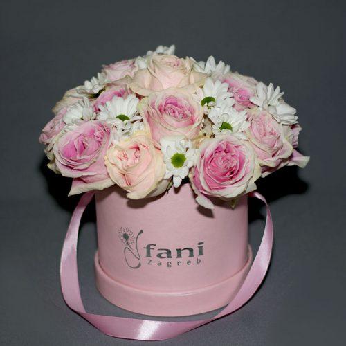 Cvjećarnica Fani_Flowerbox_Ruže i margarete u kutiji