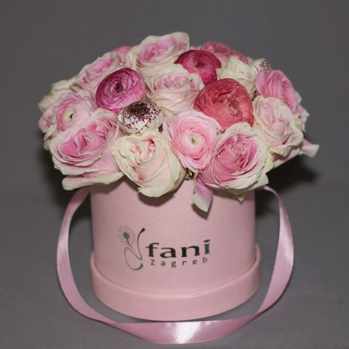 Flowerbox_Ruže i ranunkule_Cvjećarnica Fani