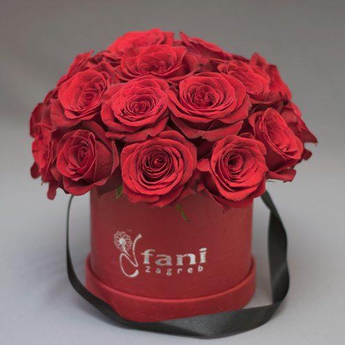 Crvene ruže u crvenoj deluxe kutiji M_Cvjećarnica Fani