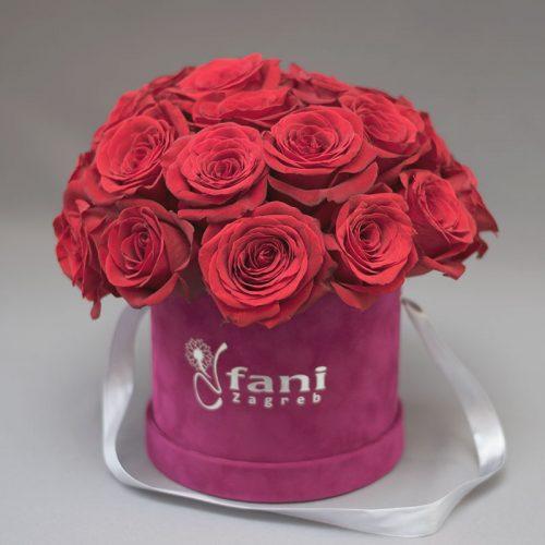 Crvene ruže u ljubičastoj baršun kutiji M_Cvjećarnica Fani