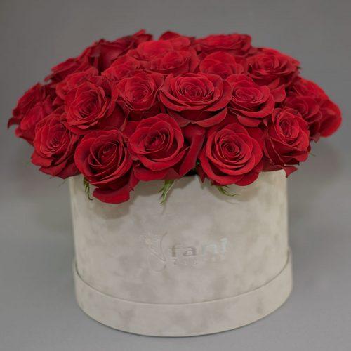 Cvjećarnica Fani_Flowerbox_Crvene ruže u sivoj kutiji